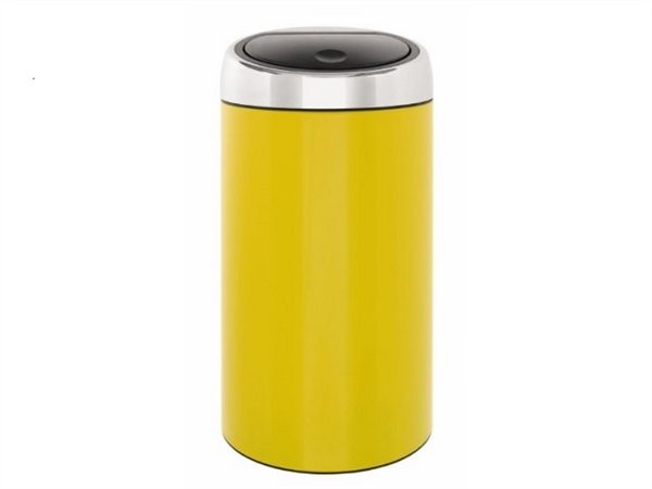 Pattumiera touch bin 45 lt in accio inox - giallo limone