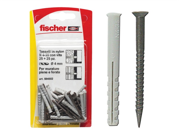 FISCHER Fissaggi in nylon con vite per battiscopa N 4 - 35 K in blister