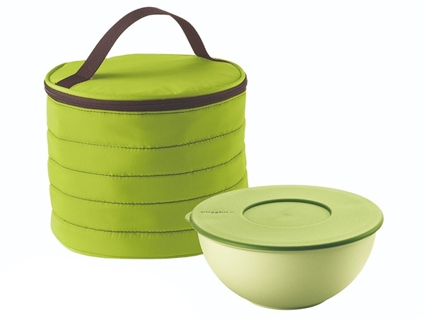 FRATELLI GUZZINI S.P.A. Borsa termica tonda con contenitore salvafreschezza Handy On the Go verde