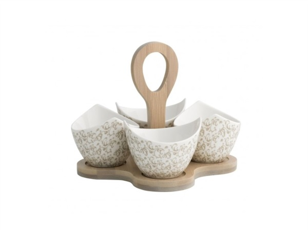 BRANDANI GIFT GROUP S.A.S. ANTIPASTIERA RICCIOLI DI FATA SET 4 PEZZI IN PORCELLANA CON SUPPORTO IN BAMBOO NATURALE