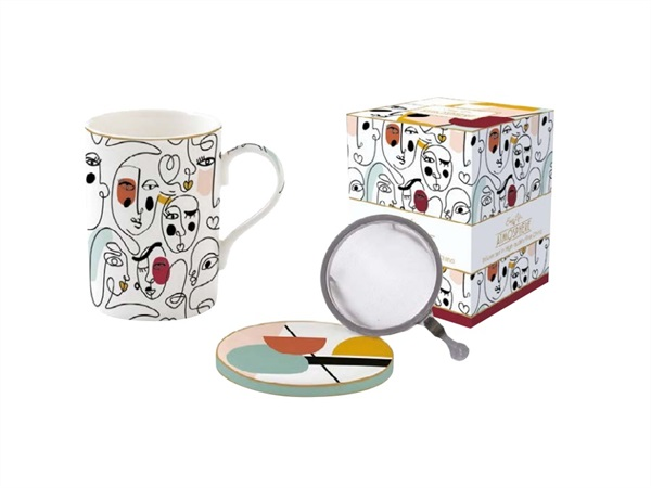 EASY LIFE Modernism, Mug e sottobicchiere in porcellana Fine China con infusiera in metallo 350 ml