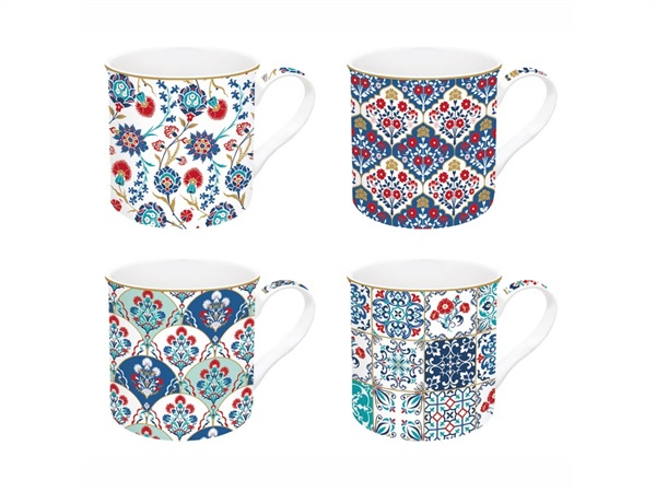 EASY LIFE Iznik, Set 4 tazze in porcellana Fine China in scatola regalo 300 ml