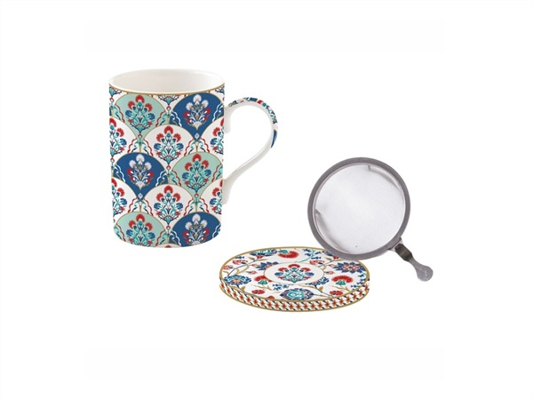 EASY LIFE Iznik, Mug e sottobicchiere in porcellana Fine China con infusiera in metallo 350 ml