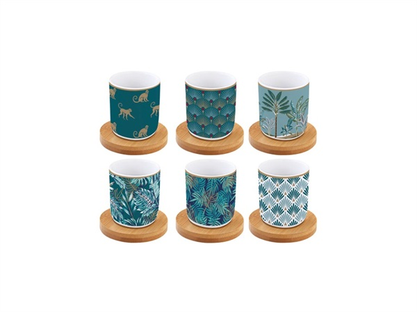 EASY LIFE Jungle, Set 6 tazzine espresso 110 ml con piattini in bamboo