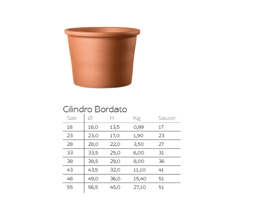DEROMA Cotto Garden VASO CILINDRICO BORDATO IN TERRACOTTA DEROMA
