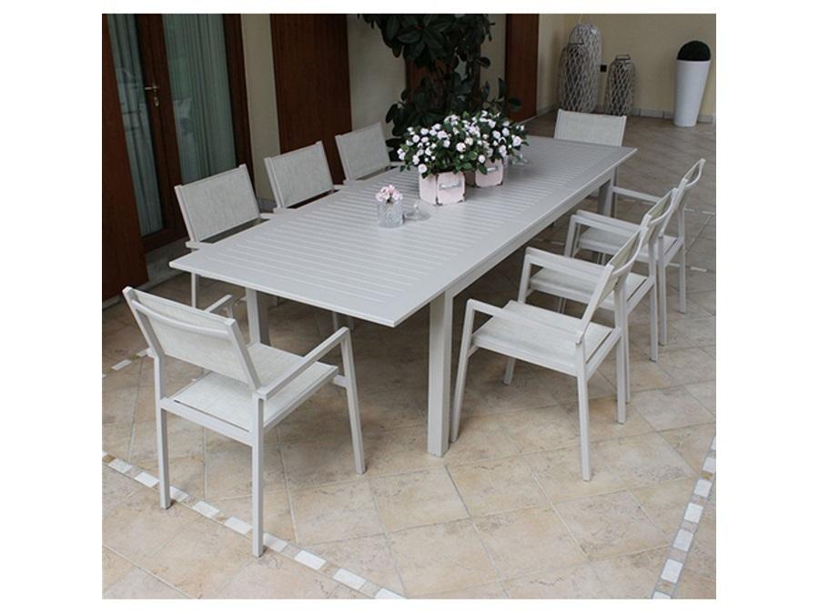 Tavoli Allungabili Da Esterno.Tavolo Da Giardino Cuba Allungabile Alluminio Tortora 150 210x90x75 Cm
