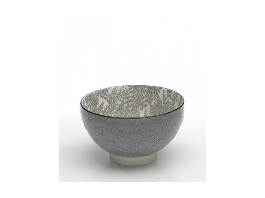 ZAFFERANO S.R.L. TUE BOWL MEDIA ZAFFERANO TAZZA MEDIA IN PORCELLANA GRIGIO INTERNO FANTASIA